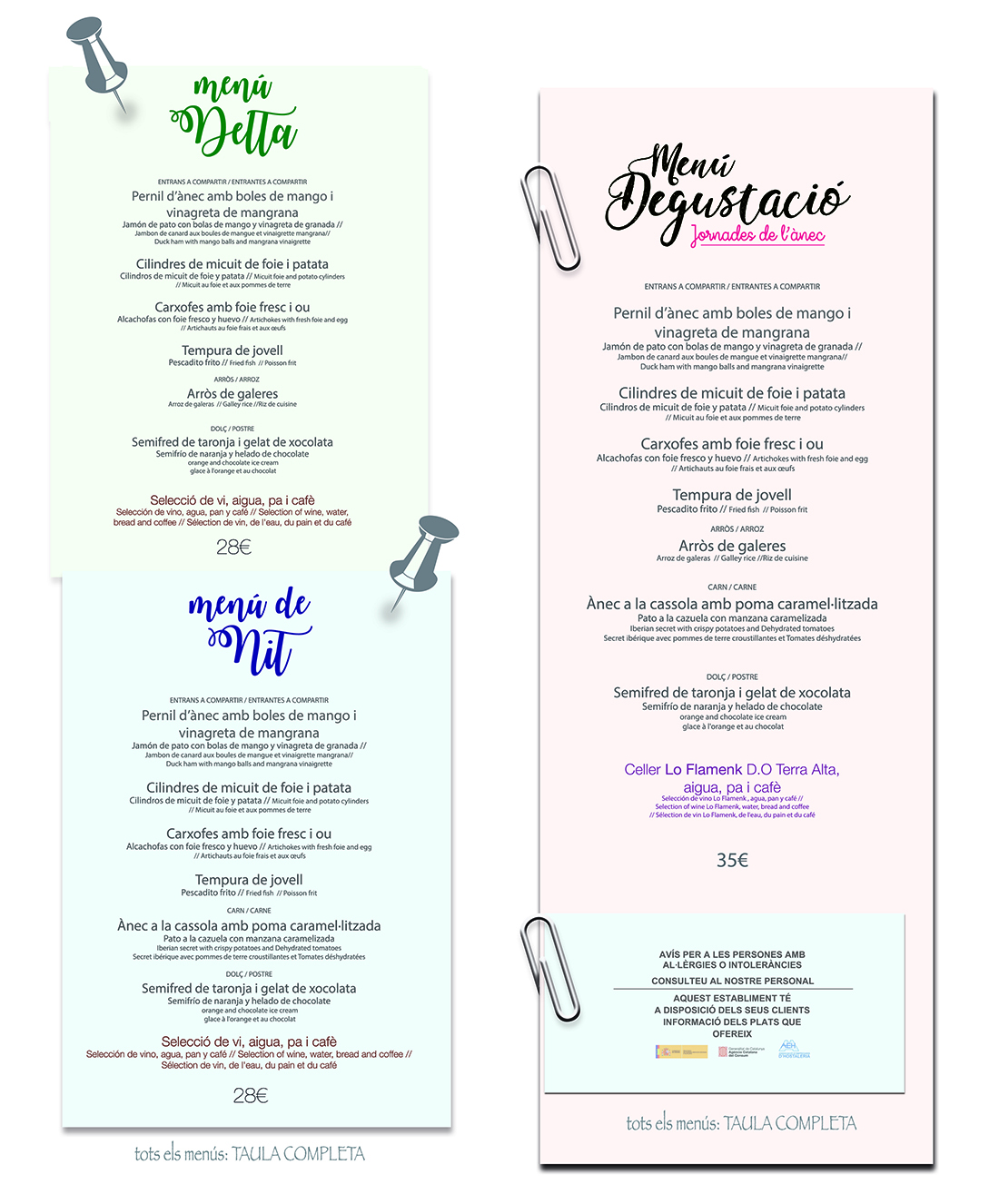 carta restaurant des 2017